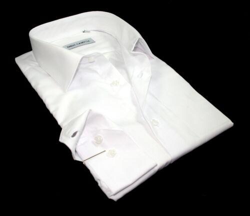 Chemise unie blanche Homme  cintrée Enzo Camicia 100/% coton SlimFit T.L