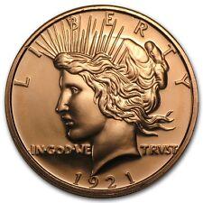 1 oncia 999 Rame Medaglia di Peace $ Liberty Lady 1921 Ottime Condizioni