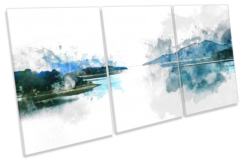 Blau Lake Landscape Weiß CANVAS WALL ARTWORK TREBLE Print Art