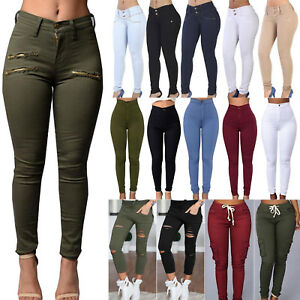 Women-Stretch-Skinny-Jeans-Pants-Jeggings-Ladies-Slim-High-Waist-Pencil-Trousers