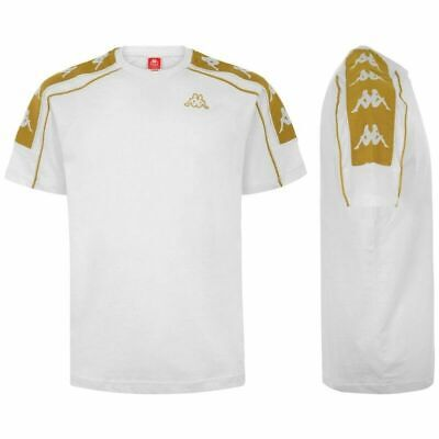 Temperato Kappa Banda 10 Arset T-shirt Bianco Oro Nero Sport Casual Maglia 304i050-909