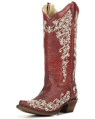Corral Ladies Snip Toe Red Beige Embroidery Cowboy Western Boots A3298