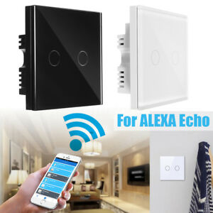 2gang-1-way-WIFI-Smart-Wall-Light-on-off-lamp-Touch-Switch-For-Amazon-Alexa-Echo