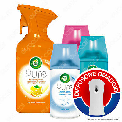 6x Air Wick PURE Spray + 3x Ricariche Assortite Autospray + Diffusore OMAGGIO