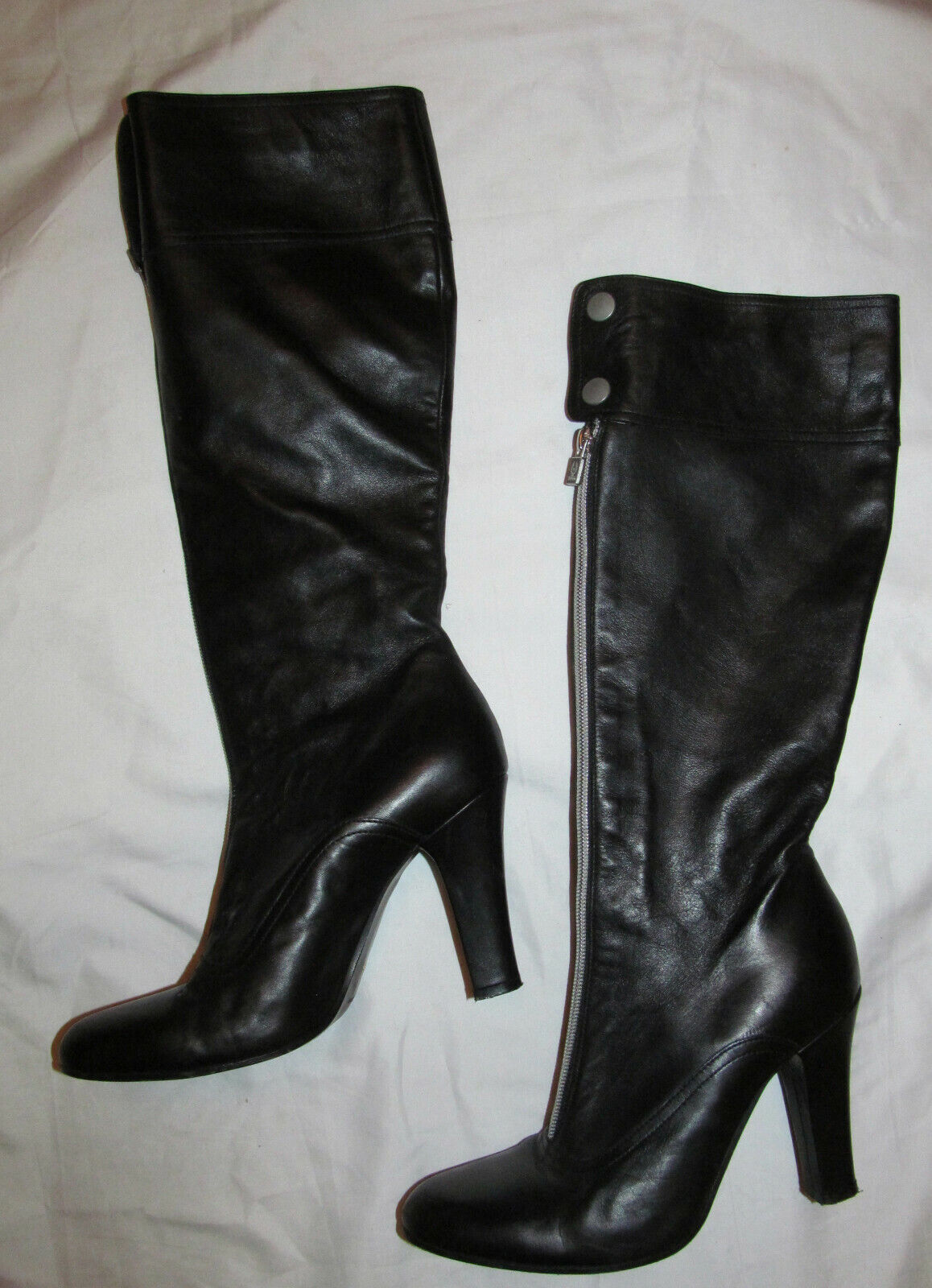 BELSTAFF buttery soft leather front zip knee high heel tall boots 39  US 9