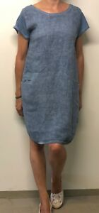 100% authentic 1aec9 0e024 Dettagli su Lino e Cotone Vestito Manica Corta con Tasche Semplicemente  Diversi Colori