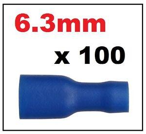 100x-Azul-Mujer-Electrica-Spade-Crimp-Conector-Terminal-completamente-aislado-6-3-mm