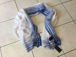 très grand chèche,étole TOMMY HILFIGER neuf blanc  bleu Lin   eBay d8cfb7c768d