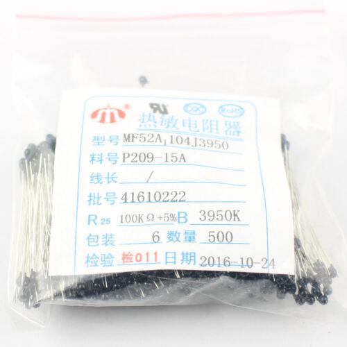 3950K 10Pcs NTC Thermistor Resistor Temperature Sensor MF52 100K OHM 5/% B