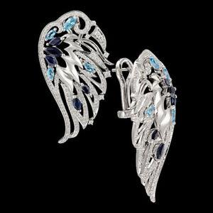 Angel Wings 925 Silver Stud Earrings for Women Wedding Jewelry Gift A Pair/set
