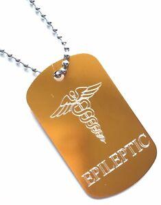 Epileptic-SOS-Medical-Alert-ID-Oro-Etiqueta-CADENA-ACERO-P7