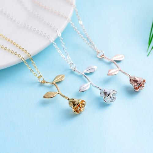 Women Vintage 3D Rose Flower Pendant Necklace Choker Jewelry Gift for Mom