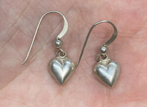 Vintage-Sterling-Silver-925-Dangle-Puffy-Heart-Hook-Pierced-Earrings