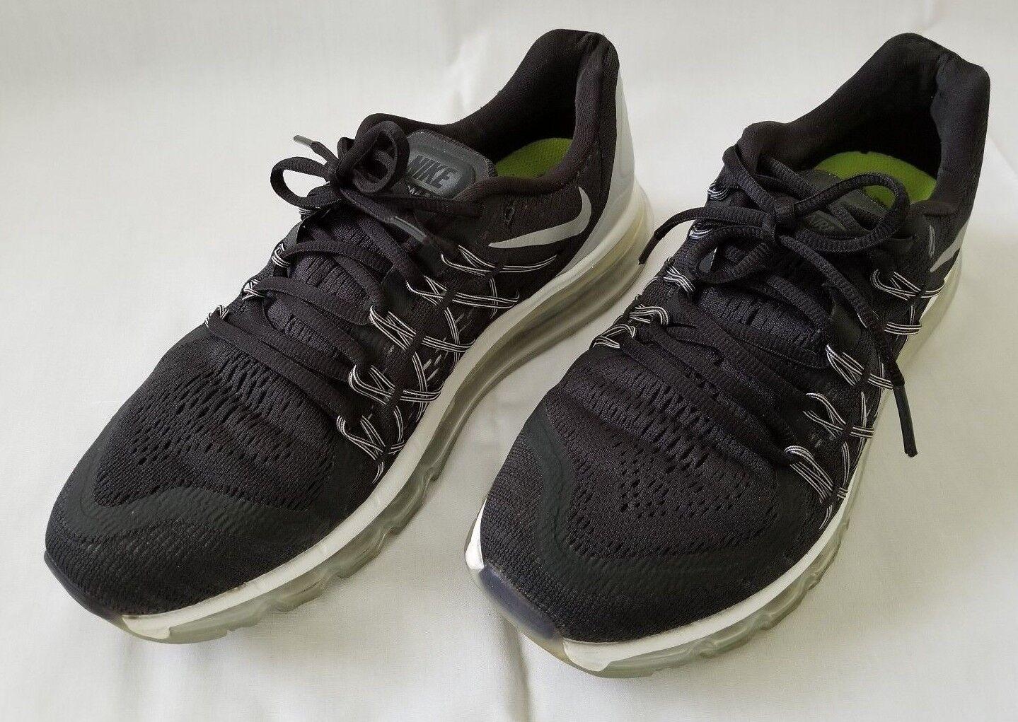 Donne sz 10 nero argento nike air max le scarpe da corsa 698903-001 usato