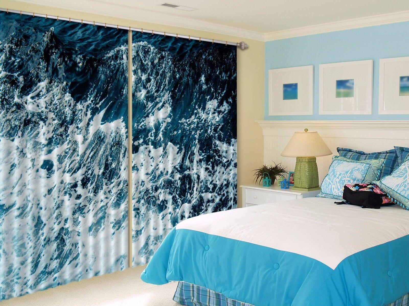 Vista de onda 3D 335 Cortinas de impresión de cortina de foto Blockout Tela Cortinas Ventana Reino Unido