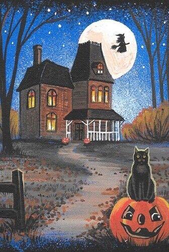 LE 4x6 HALLOWEEN POSTCARD 1/200 RYTA RARE BLACK CAT WITCH HAUNTED HOUSE moon art