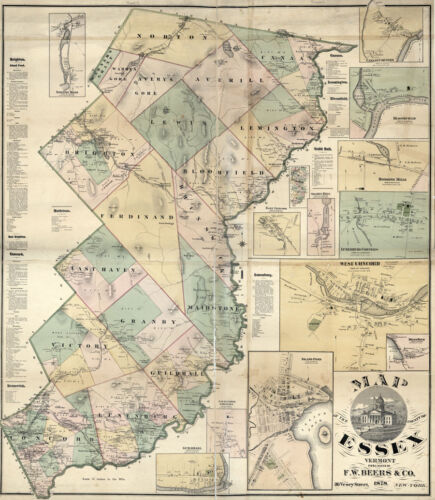 1878 Map of Essex County Vermont LARGE 35 x 40