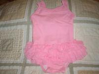 Baby Girls Size 12-18m Old Navy Pink Tutu 1pc Swim Suit Generous Fit