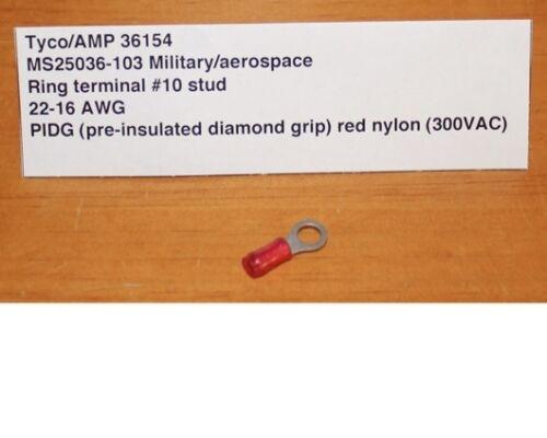 Lot of 100 Tyco//AMP 36154 Ring Crimp Terminal PIDG MS25036-103