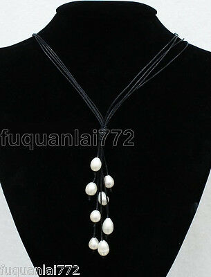 New Fashion Black Leather Rope & White Freshwater Pearl Necklace