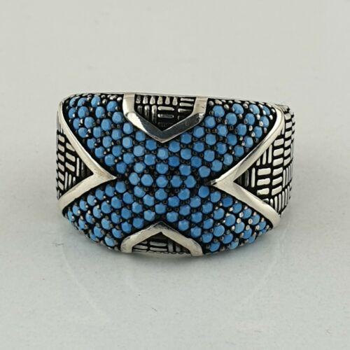 xXx Solid 925 Sterling Silver Turquoise Gemstone  Mens Ring Handmade Ottoman