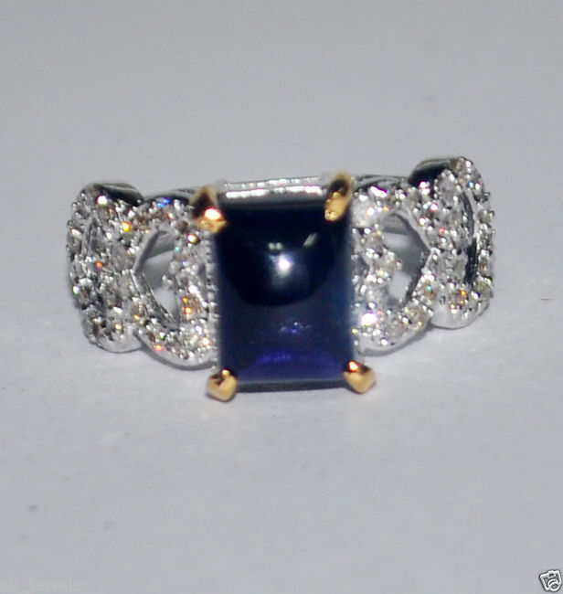 0.47CT NATURAL ROUND DIAMOND 14K SOLID WHITE gold SAPPHIRE WEDDING CLUSTER RING