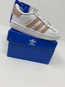 barril márketing Delgado  BABY GIRL: Adidas Originals Superstar I Shoes, White & Pink - Size 7C  CQ0705 | eBay