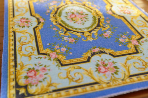1//12 Scale Beautiful Floral Royal Swirls French Aubusson Dollhouse Rug
