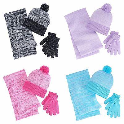 NWT Berkshire Fashions Girls 3 Piece Hat Gloves Infinity Scarf Metallic Sz 4-16