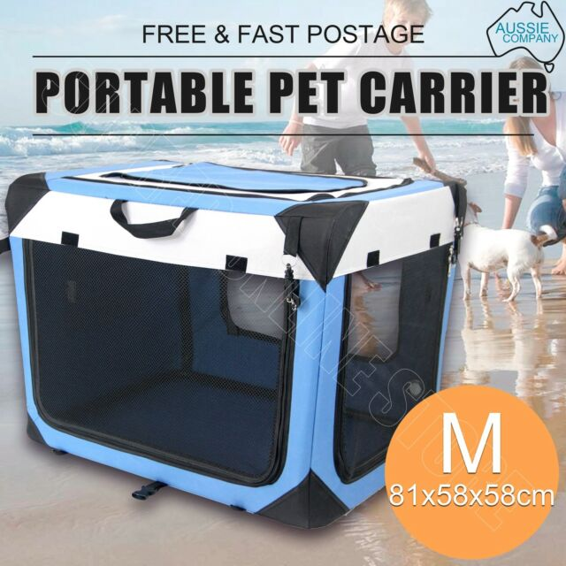 Portable Pet Carrier Crate Dog Cat Soft Travel Fold Cage Kennel Wood Base Medium
