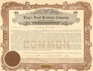 King-039-s-Food-Products-Company-gt-1922-share-stock-certificate