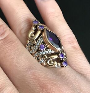925-Sterling-Silver-Handmade-Authentic-Turkish-Amethyst-Ladies-Ring-Size-6-10