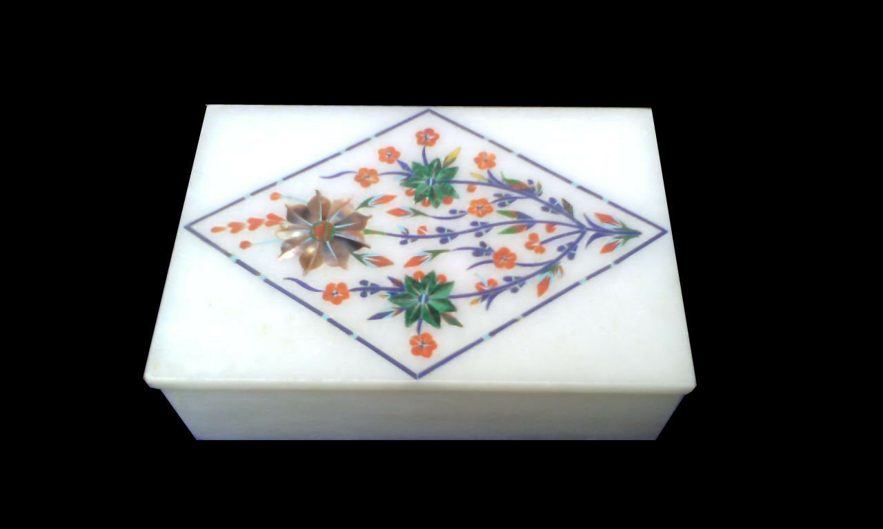 Marble trinket ring Box semi precious stones floral inlay decor and gifts