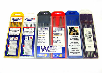 10 x 2.4mm Tig Welding Tungsten Electrodes (red,white,grey,blue,gold,black)