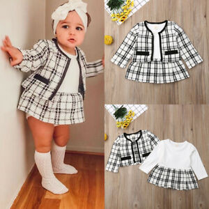 UK Boutique Kids Baby Girl Retro Plaid Coat Tops+Dress Party Warm Outfit Clothes