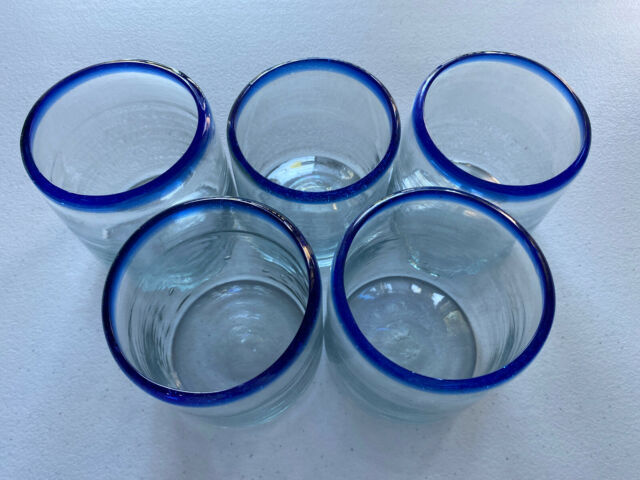 Set of 6 Glasses with Cobalt Blue Rims Hand Blown Mexican Drinking Glasses 14 oz Each
