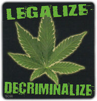 Bumper Sticker: Legalize Decriminalize Marijuana Leaf 420 Pot Support Medical