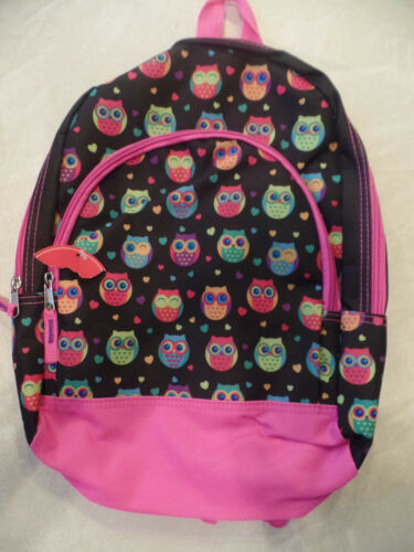 NEW girls OWL BACKPACK pink black HEARTS school bookbag PRESCHOOL KINDERGRTEN