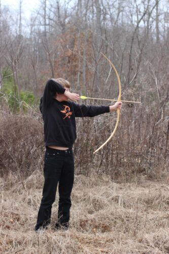 Handcrafted Traditional Youth Training Bow Hickory Right Hand Heavy 12 arrows