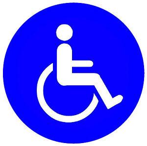 4 X Disabili - Finestra / Porta Interno Adesivi - 2 X Quadrato & Rotondo / Nuovo