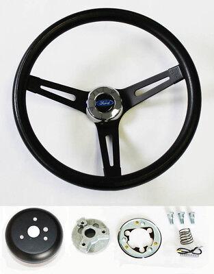 """1978-1991 Bronco steering wheel BLUE OVAL 13 1//2/"""" BLACK 4 SPOKE steering wheel"""