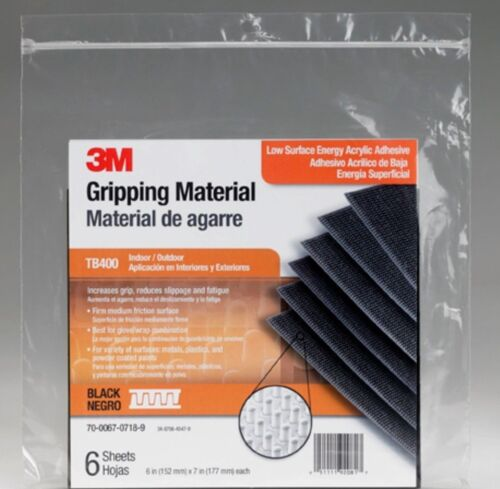 3M Gripping Material Black 6 in x 7 in sheet TB400-SH 6 sheets//bag