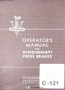 Cincinnati 1010 Series 5, Press Brakes Madison Kipp Maintenance Assembly Manual