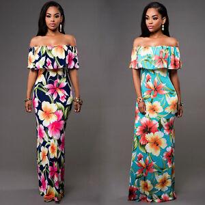 Women-Off-Shoulder-Summer-Beach-Floral-Evening-Party-Cocktail-Bodycon-Maxi-Dress