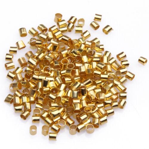500//1000pcs Silver//Gold//Black//Bronze Tube Crimp End Beads Jewelry 1.5//2mm