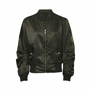 Womens Ladies Celebrity Retro Satin Bomber Jacket MA1 Coat Army Lightweight XS-L