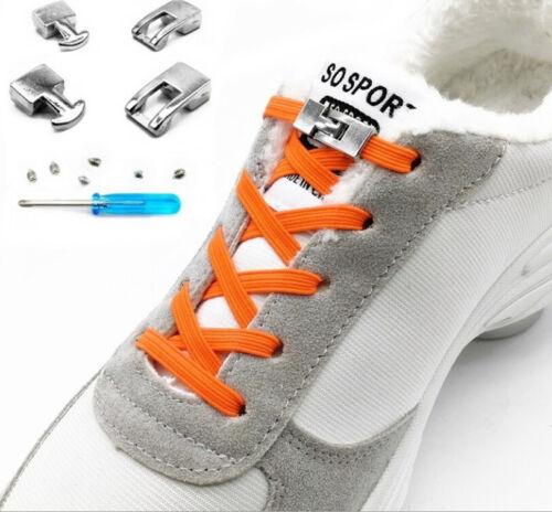 Elastische Schnürsenkel  flach rund Schnellverschluss Schuhbänder 20 Farben