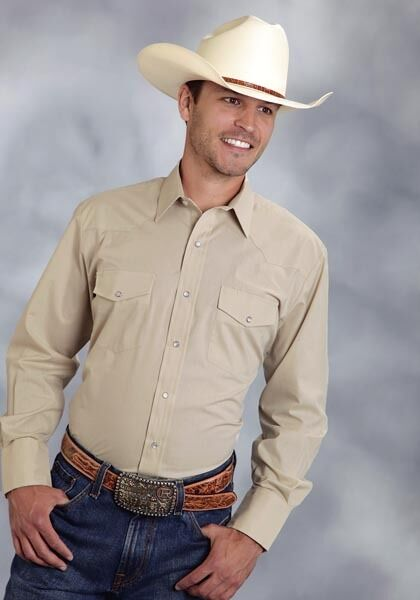Roper Mens TAN Beige Sand Long Sleeve Western Rodeo Cotton Show Shirt w Snaps