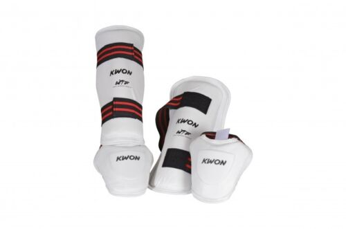 KWON Karate,usw WTF Schienbein- Spannschutz Set Evolution weiß TKD Taekwondo