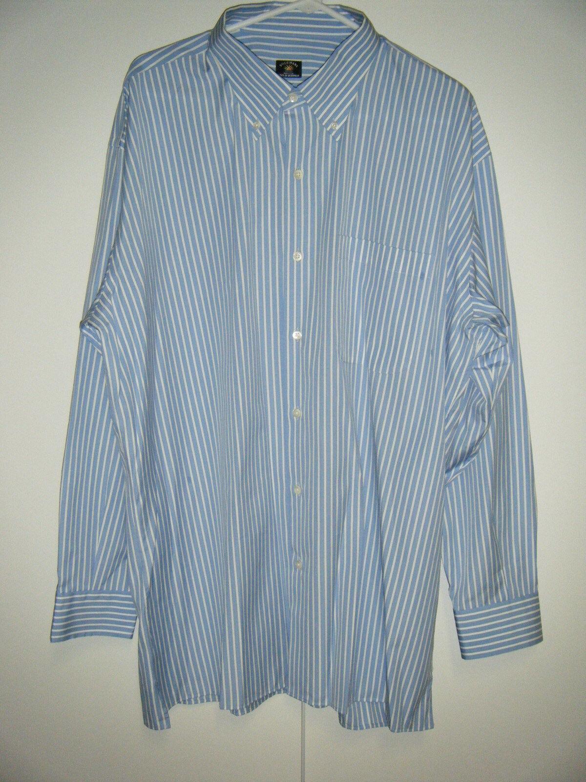 Herren MADE IN ITALY LONG SLEEVE 100% COTTON DRESS SHIRT 2XL NEW Blau & Weiß